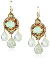Miguel Ases Green Rutilated Quartz Three-Stone Drop Earrings