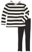 Splendid Girl's Stripe Blouson Top & Leggings Set