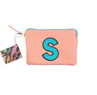 Laines London Personalised Small Classic Leather Clutch Bag - Pink / Blue