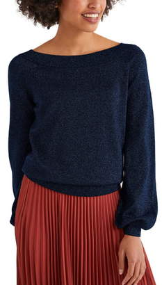 Boden Mabel Metallic Bishop Sleeve Sweater