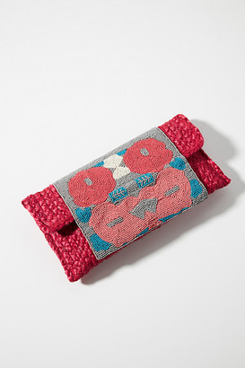 Anthropologie Arlene Beaded Clutch By in Pink Size ALL