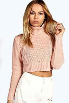 boohoo Womens Diana Turtle Neck Cable Crop Jumper