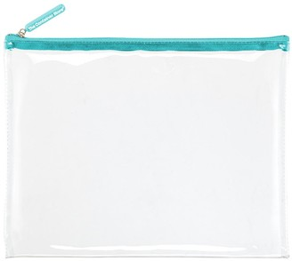 Container Store Large Aqua Zippered Clear Pouch