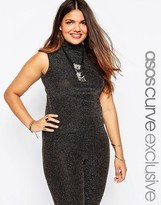 Asos Sleeveless Top In Gold Holidays Sparkle