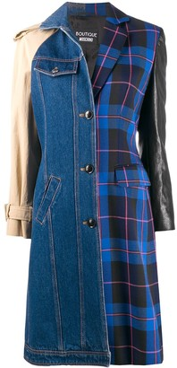 Boutique Moschino Patch-Work Single Breasted Coat