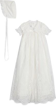 Pippa & Julie Lace Christening Gown & Bonnet Set