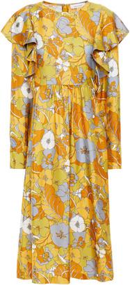 Samsoe & Samsoe Samse Samse Martha Ruffled Floral-print Silk-twill Midi Dress