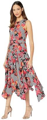 Calvin Klein Belted Handkerchief Dress (Watermelon Multi) Women's Dress