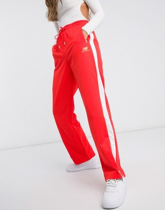 New Balance wide leg sweatpants in red