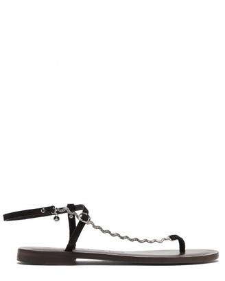 Álvaro González Andreina Curved-chain Suede Sandals - Black