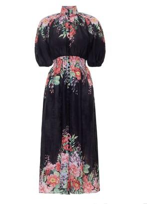 Zimmermann Bellitude Shirred Waist Dress