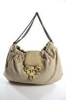 Kotur Beige Canvas Gold tone Hardware Embellished Round Small Satchel Bag