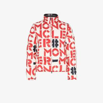 Moncler Genius logo print padded feather down cotton jacket