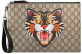 Gucci Angry Cat print GG Supreme pouch