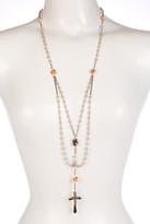 Betsey Johnson Imitation Pearl & Rhinestone Rosary Necklace