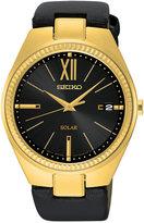 Seiko Women's Solar Recraft Series Black Leather Strap Watch 35mm SNE876