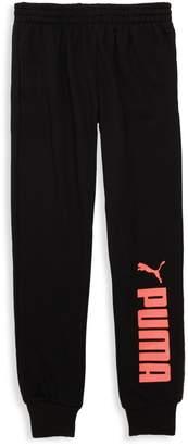 Puma Girl's Logo Cotton-Blend Fleece Jogger Pants