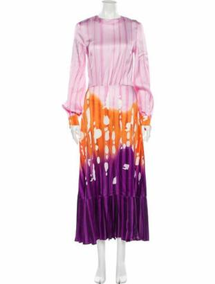 Stella Jean Tie-Dye Print Long Dress Orange
