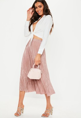 Missguided Rose Plisse A Line Midi Skirt