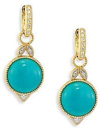 Jude Frances Women's Lisse Diamond, Turquoise & 18K Yellow Gold Round Earring Charms