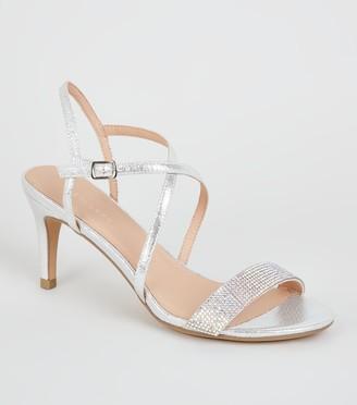 New Look Metallic Diamante Strappy Heels