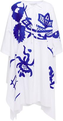 Marques Almeida Asymmetric Oversized Embroidered Cotton-poplin Mini Dress