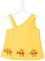 MSGM embroidered flower blouse - kids - Cotton - 14 yrs