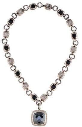 David Yurman Hematine, Onyx & Diamond Pendant Necklace