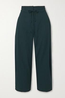 LE 17 SEPTEMBRE Cropped Seersucker Wide-leg Pants - Teal