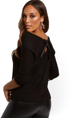New York & Co. Off-The-Shoulder Bow-Back Sweater