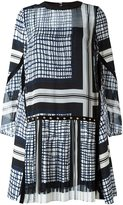 Sacai pleated panel printed dress - women - Cotton/Polyester/Cupro - 3