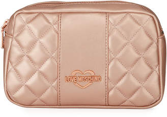 Love Moschino Borsa Quilted Metallic Faux-Leather Belt Bag