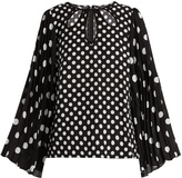Andrew Gn Polka-dot print pleated-sleeve silk top