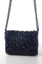 Designer Blue Leather Studded Chain Strap Crossbody Handbag