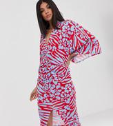 Flounce London Tall kimono wrap front midi dress in red animal