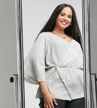 Simply Be wrap peplum top in silver