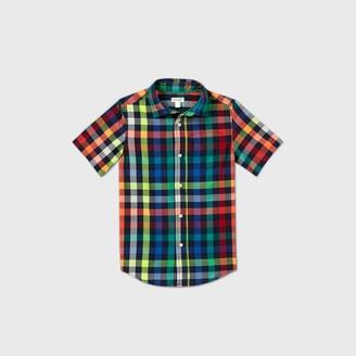 Cat & Jack Boys' Short Sleeve Button-Down Poplin Plaid Shirt - Cat & JackTM