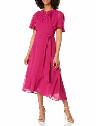 Tahari ASL Women's Ruffle Sleeved Hi-Low Dress