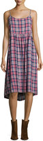 The Great The Tea Time Sleeveless Dress, Washed Cherry Plaid
