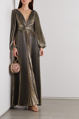Oscar de la Renta - Knotted Pleated Silk-blend Lame Gown - Gold