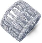 Lafonn Platinum Over Sterling Silver Simulated Diamond Inside Out Open Cage Wide Band