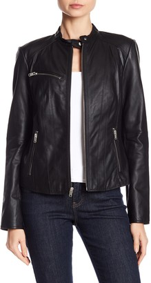 Andrew Marc Felicity Leather Moto Jacket