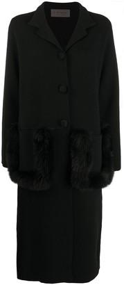 D-Exterior Knit Faux-Fur Trim Coat