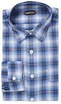 Tom Ford Men's Cotton Plaid Spread Collar Dress Shirt