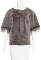 Brunello Cucinelli Feather-Trimmed Shearling Top