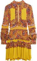 Just Cavalli Printed plissé silk mini dress