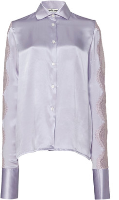 ANAÏS JOURDEN Lace-Trim Silk Satin Button-Down Shirt
