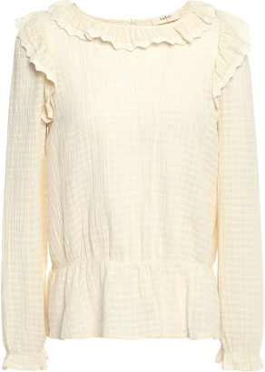 BA&SH Ruffled Lace-trimmed Cotton-seersucker Blouse