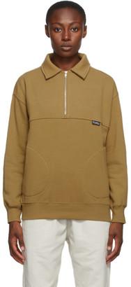 Stussy Tan Back Panels Half-Zip Sweatshirt