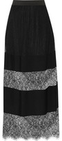 Maje Paneled Lace And Crepe Midi Skirt
